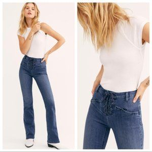 Free People Eva Lace-Up Bootcut Jeans Blue
